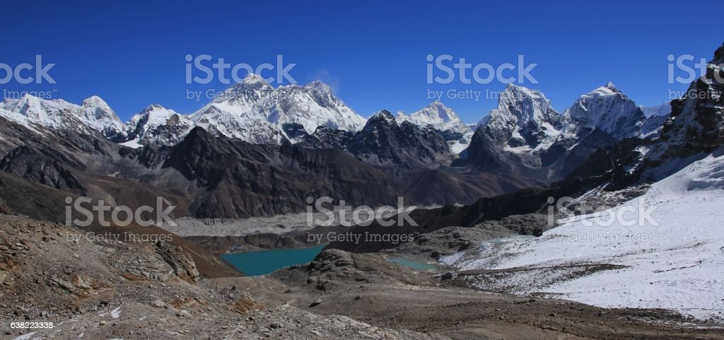 Gokyo valley and mount Everest stock photo