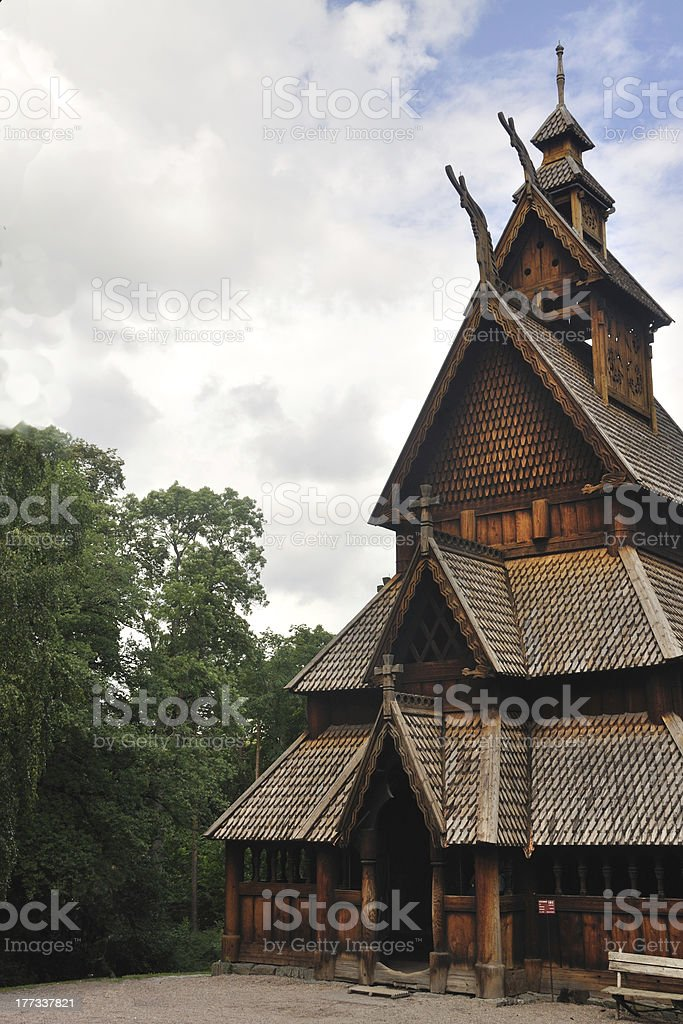 Gol stave church in Folks museum Oslo royalty-free stock photo