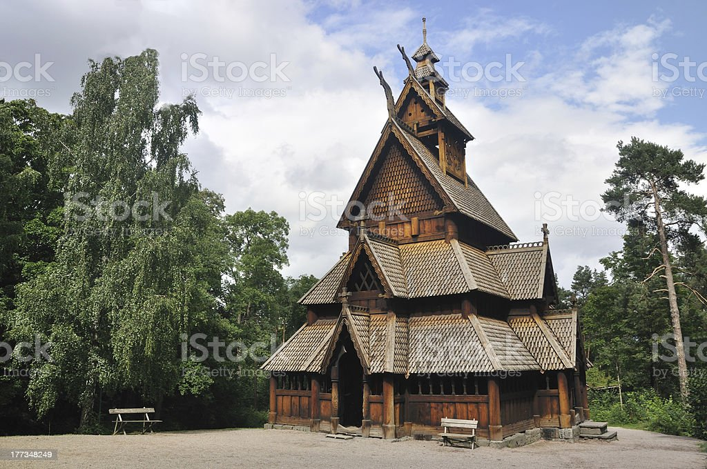 Gol stave church in Folks museum Oslo stock photo