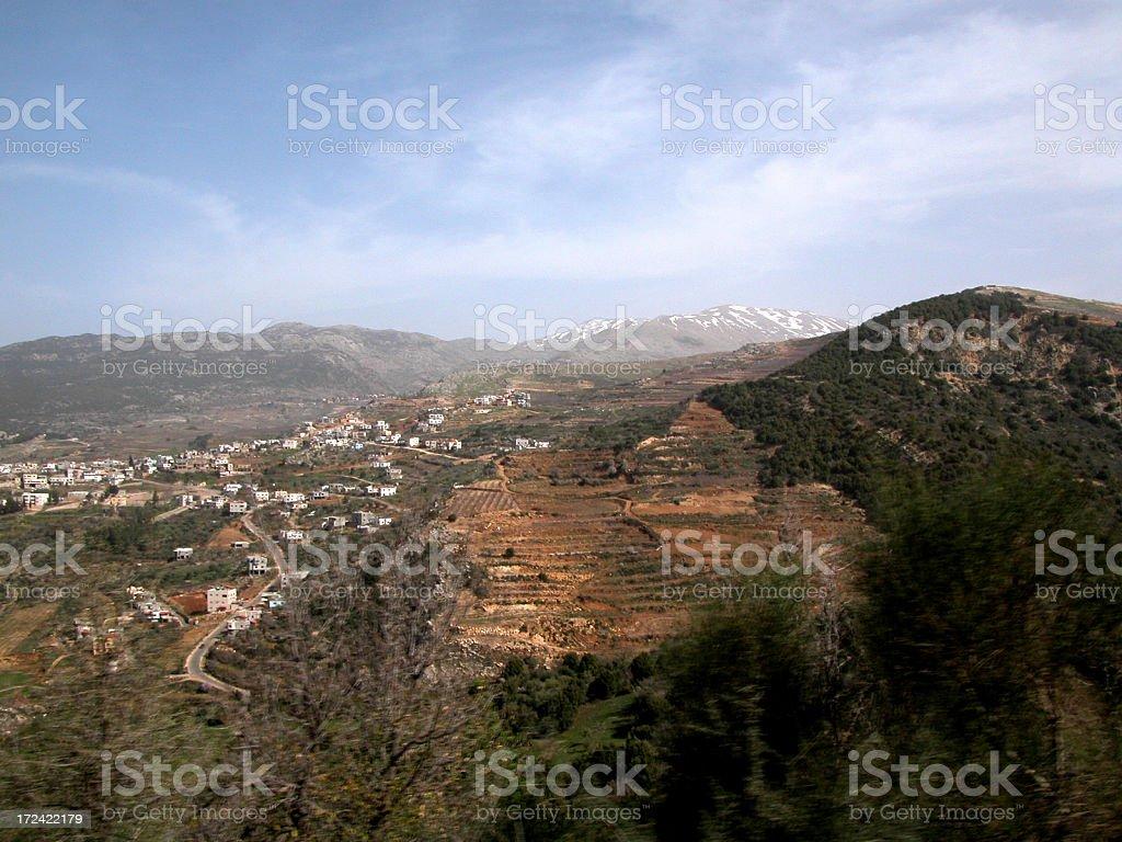Golan Heights hillside stock photo