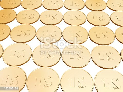 istock gold 1$ coin carpet on white 1132808184