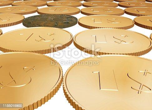 istock gold 1 coin carpet on white 1155015900