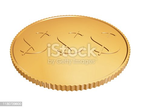 istock gold 1$ coin on white 1130739600