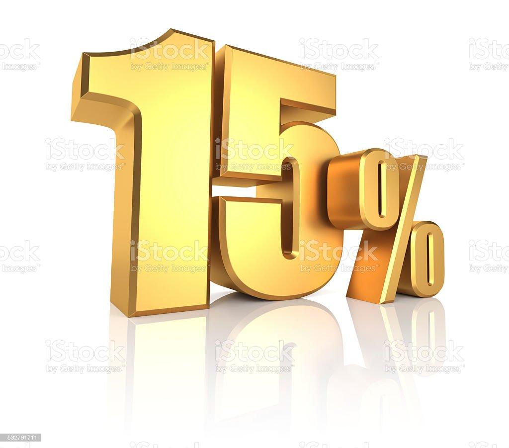 Gold 15 Percent stock photo