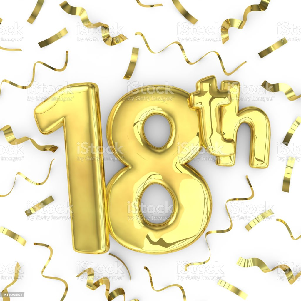 Gold 18th party birthday event celebration background stock photo