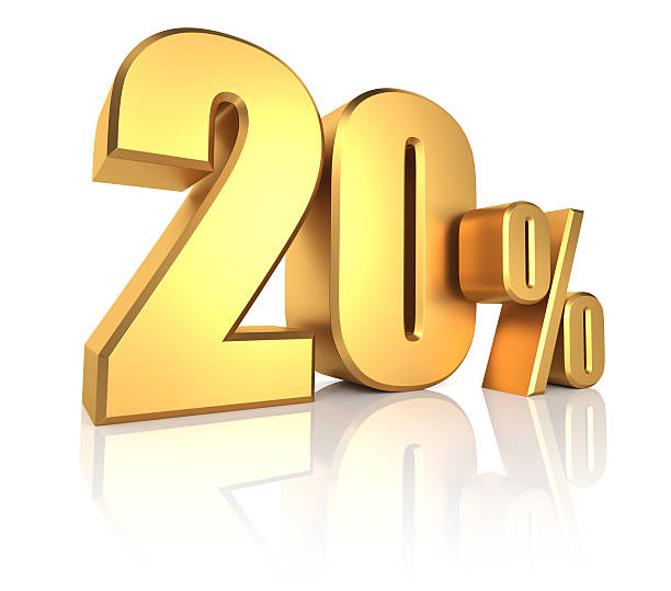 gold 20 percent - number 20 stock photos and pictures