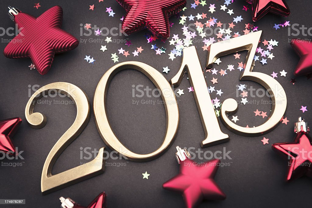 Gold 2013 New year text on christmas decoration stock photo