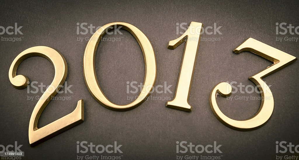 Gold 2013 New year text on dark background stock photo
