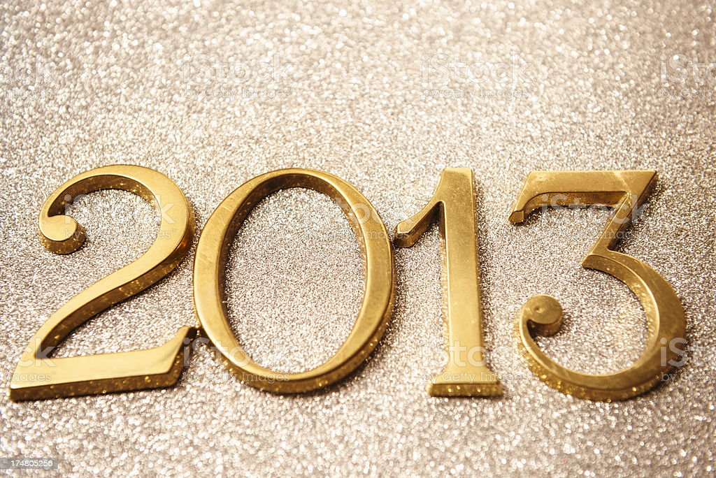 Gold 2013 New year text on shiny background stock photo