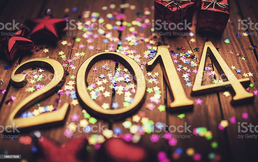 Gold 2014 New year text on christmas decoration royalty-free stock photo