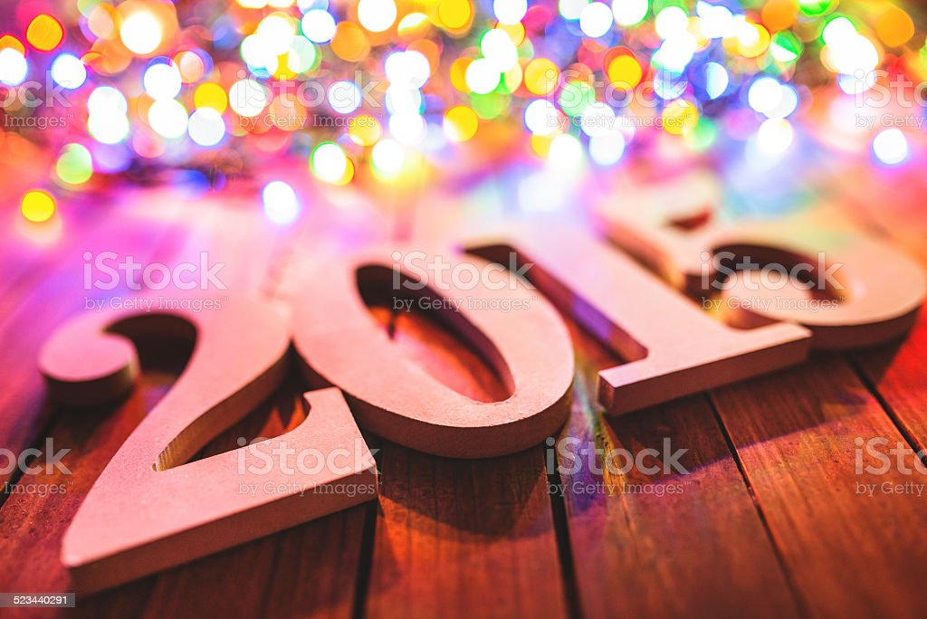 Gold 2015 New year text on plank wood