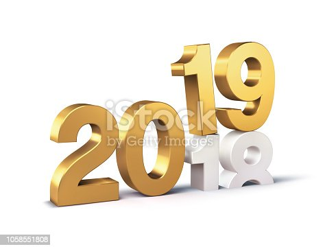 istock Gold 2019 New Year beginning symbol 1058551808