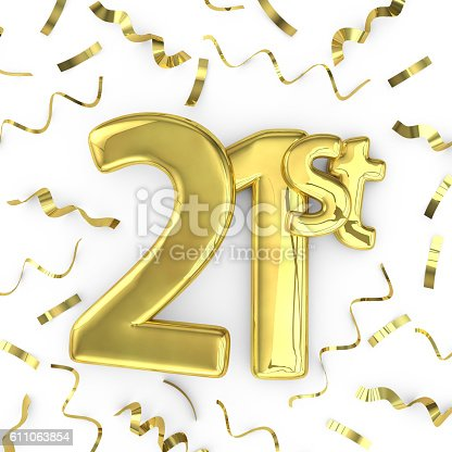 Gold 21st celebration party background. 3D render of gold metallic anniversary birthday numbers on a plain white background surrounded by confetti streamers.