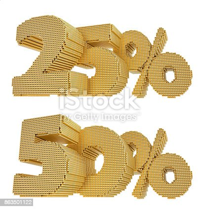 istock Gold 25% and 50% discount - 3D Rendering 863501122