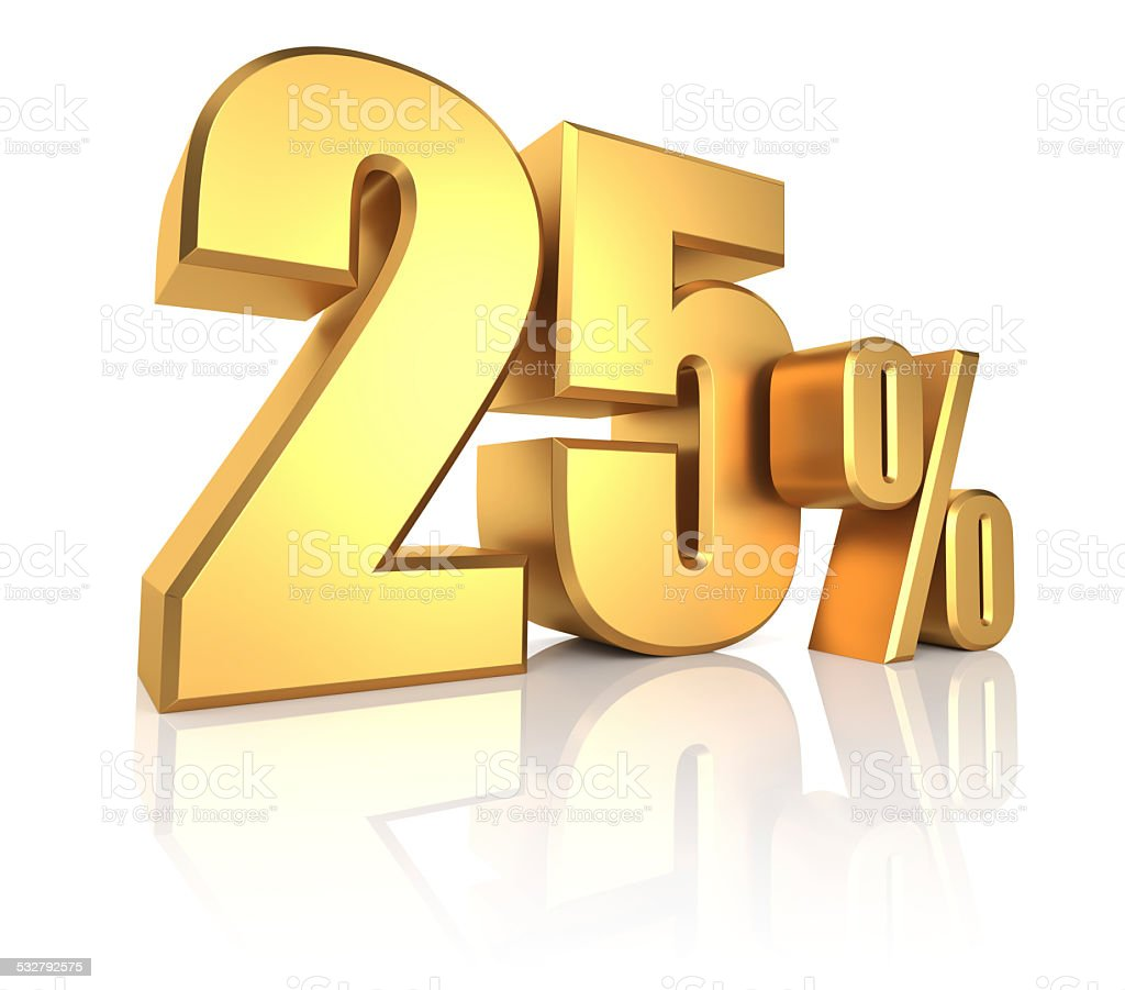 Gold 25 Percent stock photo