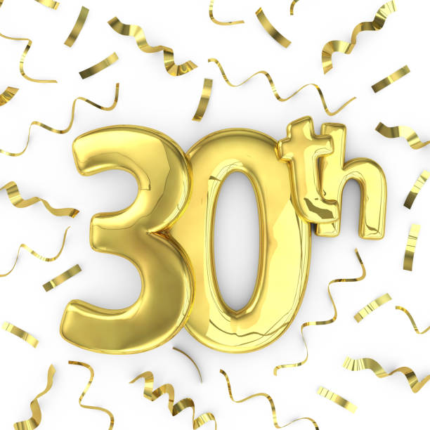 gold 30th party birthday event celebration background - number 30 stock photos and pictures