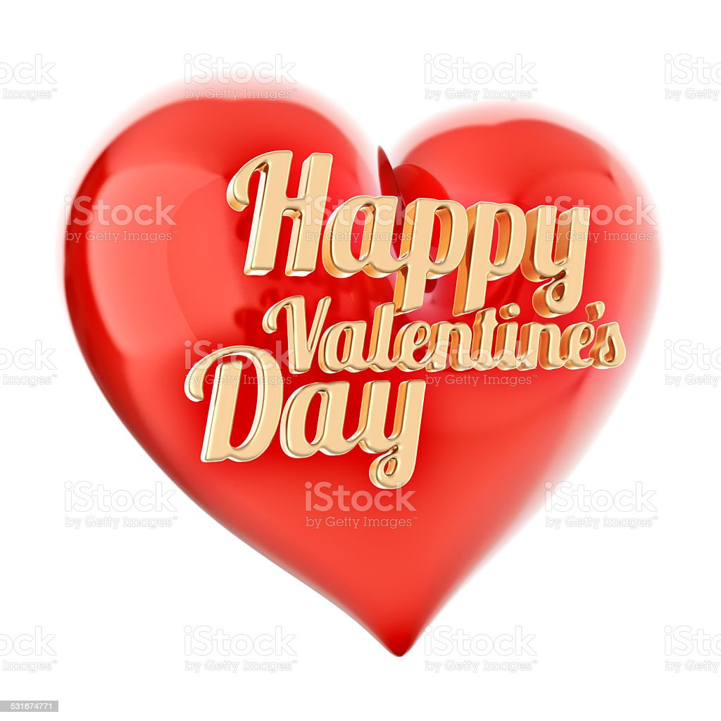 Gold 3d letters happy valentines day with red heart on stock photo