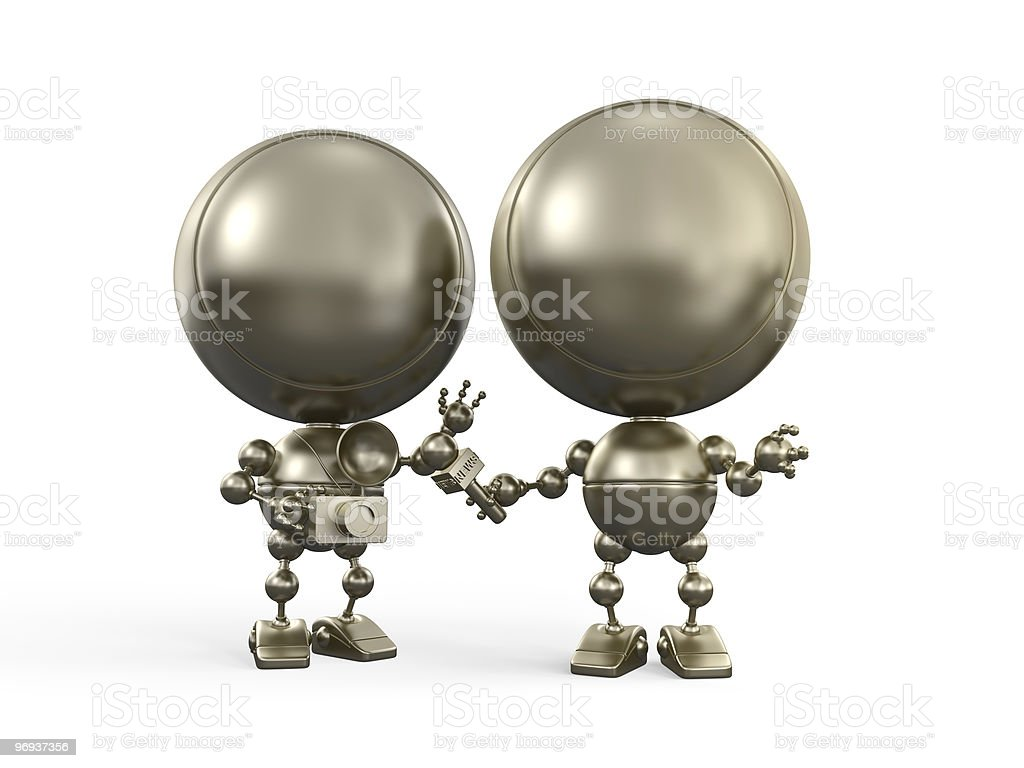 Gold 3d models interviewing royalty-free stock photo