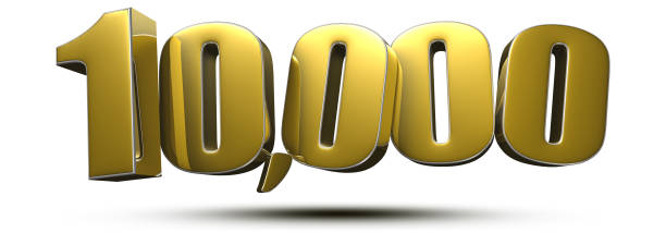 10,000 gold 3d. stock photo
