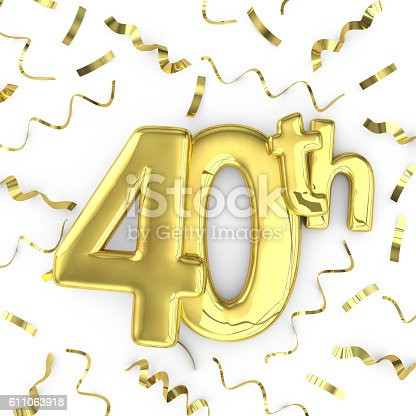Gold 40th celebration party background. 3D render of gold metallic anniversary birthday numbers on a plain white background surrounded by confetti streamers.