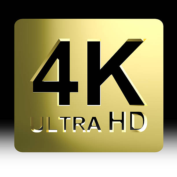 Gold 4K ultra HD sign Gold 4K ultra HD sign isolated on black background with clipping path include k icon stock pictures, royalty-free photos & images