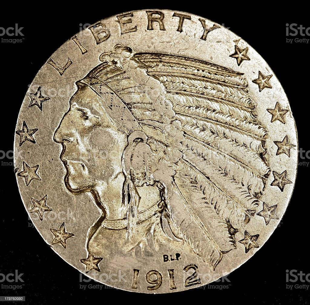 US 1912 Gold $5 Piece royalty-free stock photo