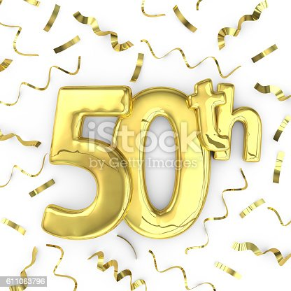 Gold 50th celebration party background. 3D render of gold metallic anniversary birthday numbers on a plain white background surrounded by confetti streamers.