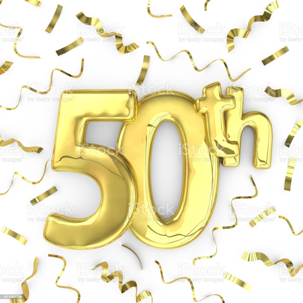 Gold 50th party birthday event celebration background stock photo