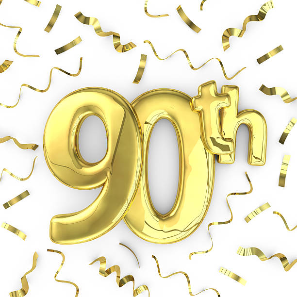 gold 90th party birthday event celebration background - number 90 stock photos and pictures