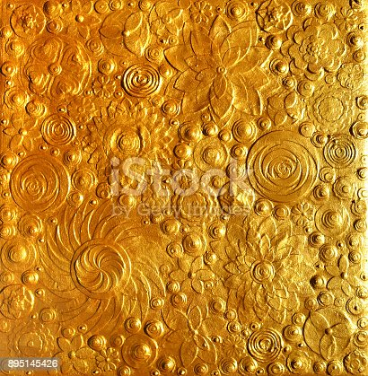 istock Gold abstract art, gold floral painting, textured golden surface made of metallic gold sand and dust. Golden sparkling like background made of flowers. 895145426