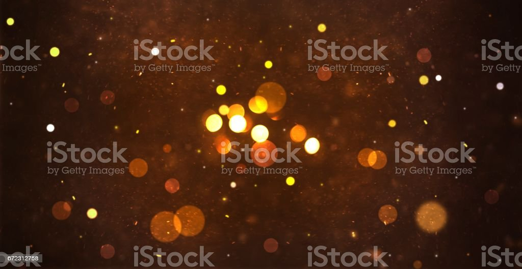 Gold abstract particle and bokeh for background stock photo