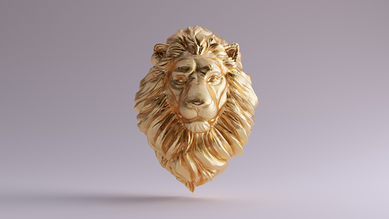 istock Gold Adult Male Lion Bust Sculpture Front 1133526630