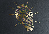 Bulb logo printed in gold leaf. Smart suggestions..