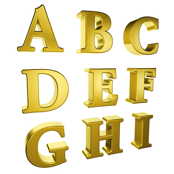 gold alphabet A to I stock photo