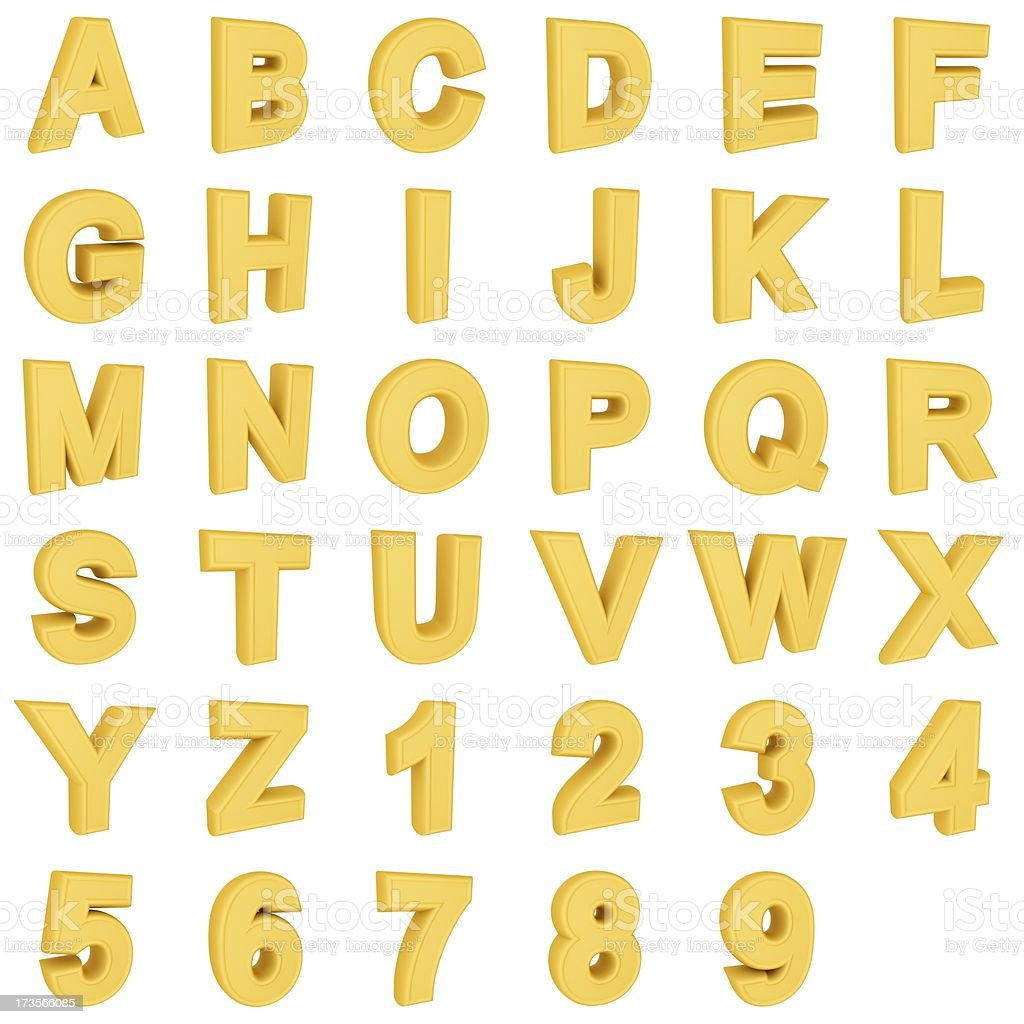 Gold  alphabet and Numerals stock photo