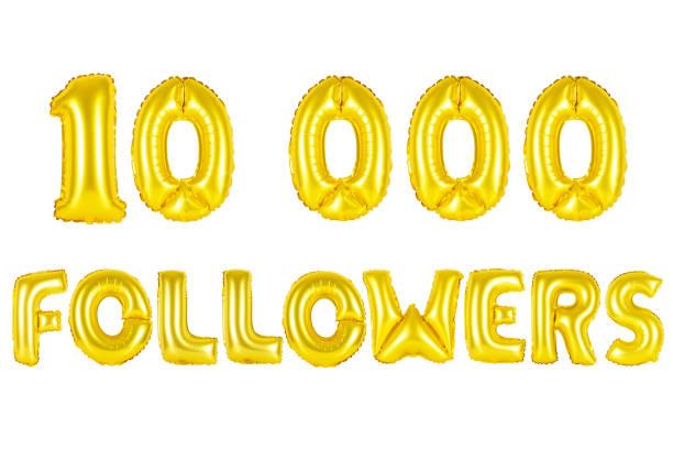 Gold alphabet balloons, 10K (ten thousand) followers stock photo