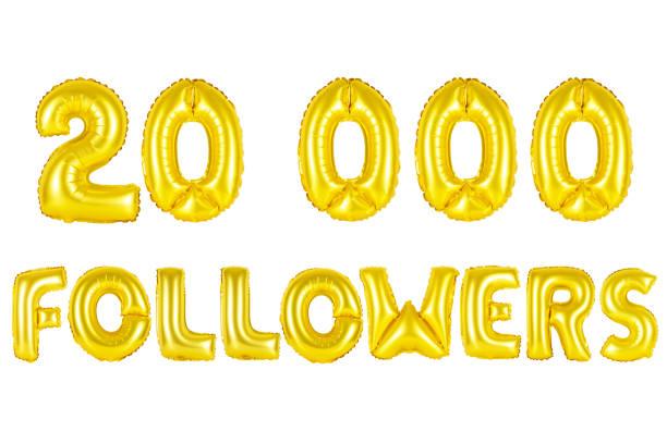 Gold alphabet balloons, 20K (twenty thousand) followers stock photo