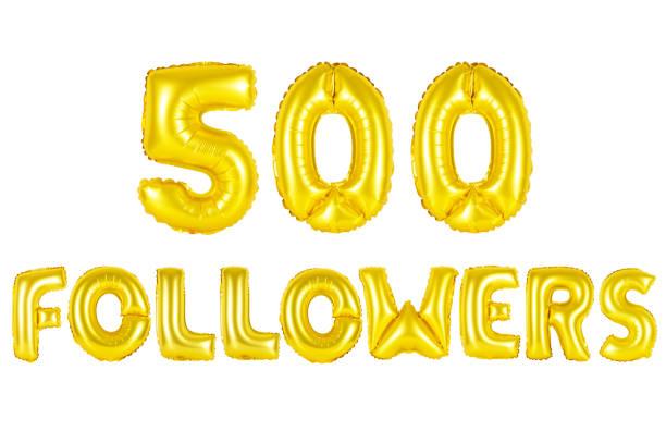 Gold alphabet balloons, 500 (five hundred) followers stock photo