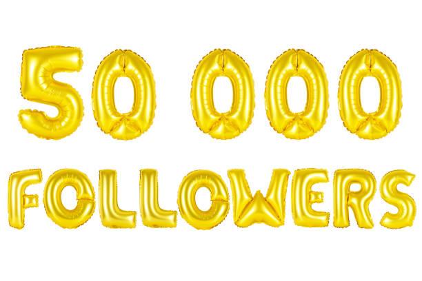 Gold alphabet balloons, 50K (fifty thousand) followers stock photo