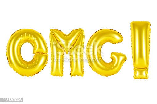 istock Gold alphabet balloons, acronym and abbreviation, omg 1131309008