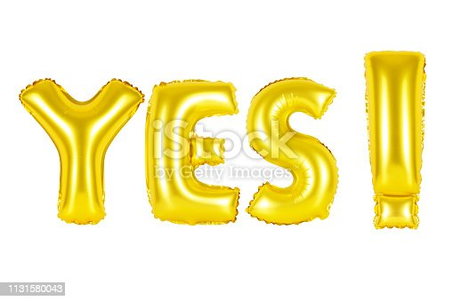 istock Gold alphabet balloons, acronym and abbreviation, yes 1131580043