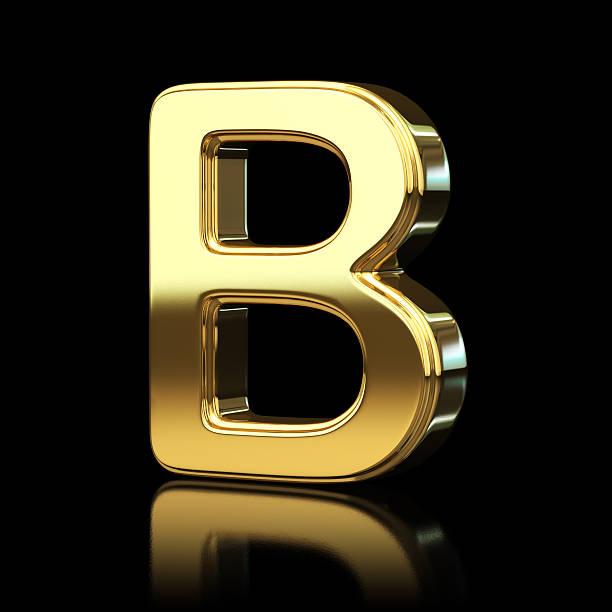 Gold alfabeto Lettera B - foto stock