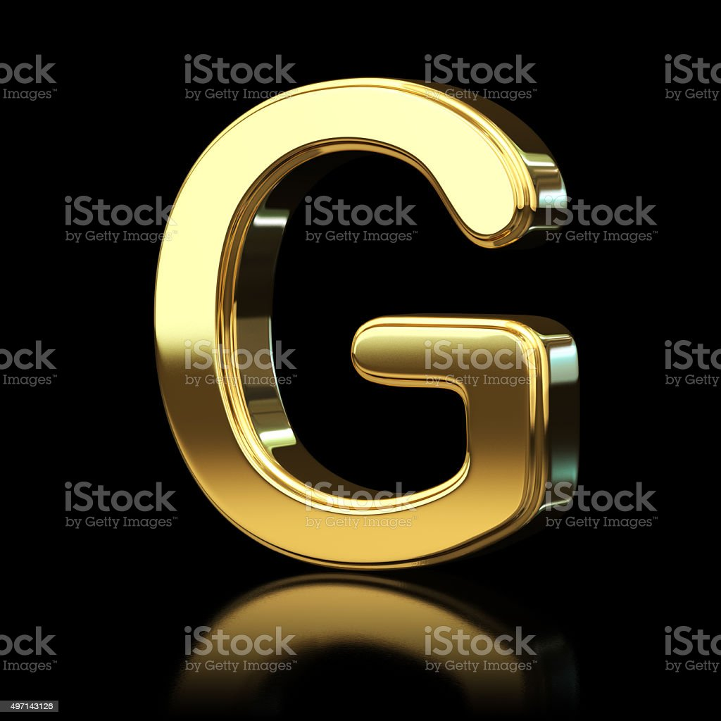 Gold Alphabet Letter G stock photo
