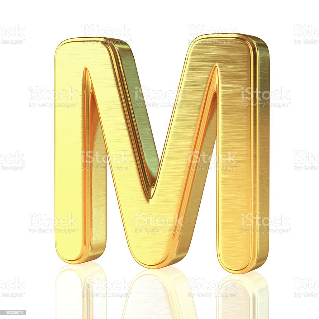 Gold Alphabet Letter M stock photo