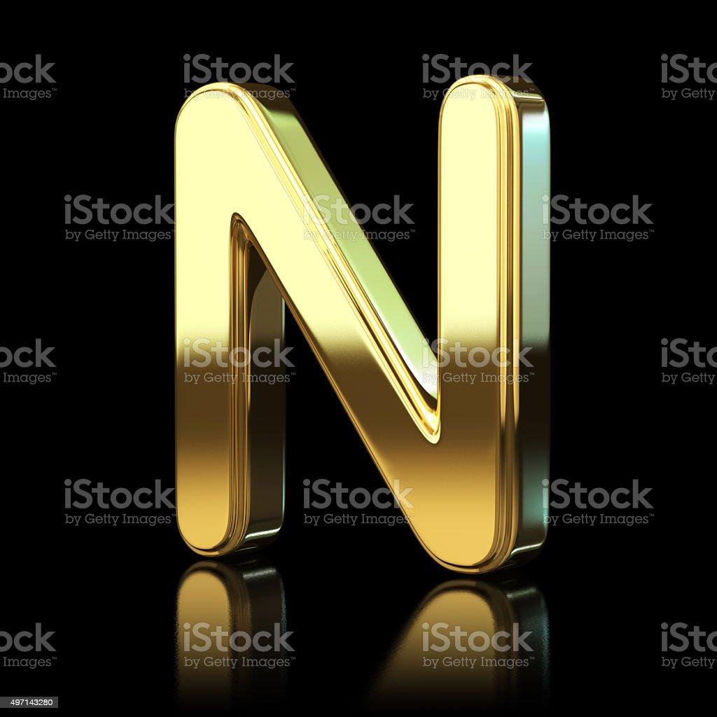 Gold Alphabet Letter N stock photo