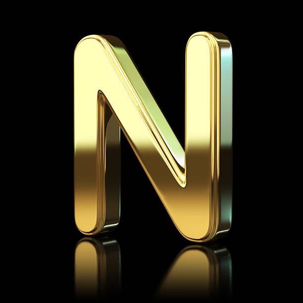 Gold Alphabet Buchstabe N – Foto