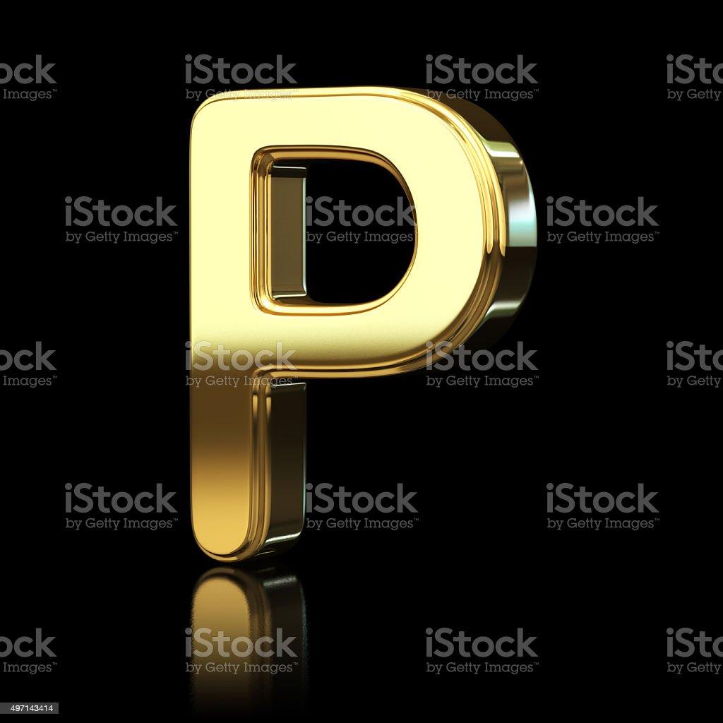 Gold Alphabet Letter P stock photo