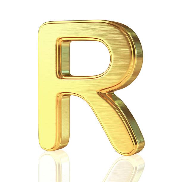 Gold Alphabet Letter R stock photo
