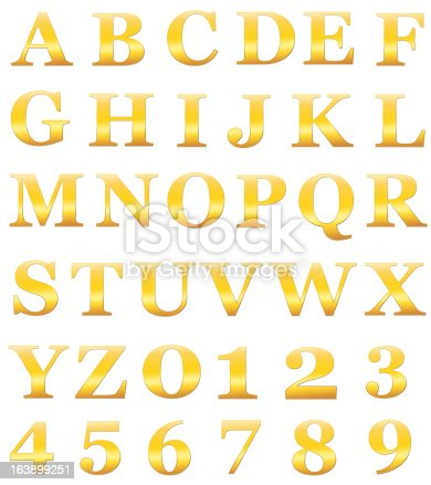 istock Gold alphabet letters include numerals isolated on white XXL 163899251