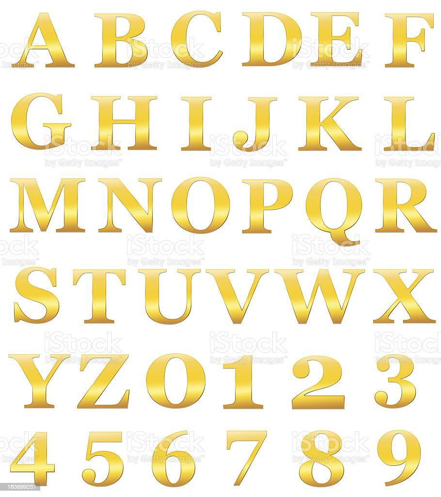 Gold alphabet letters include numerals isolated on white XXL stock photo